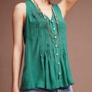 Anthropologie | Maeve Button Up Green Swing Tank